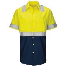 Hi-Visibility Short Sleeve Colorblock Ripstop Work Shirt - Type R, Class 2